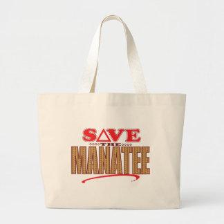 Manatee Save Large Tote Bag
