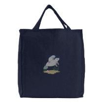 Manatee Scene Embroidered Tote Bag