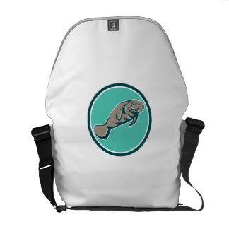 Manatee Sea Cow Circle Retro Messenger Bag