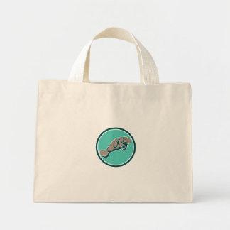 Manatee Sea Cow Circle Retro Mini Tote Bag