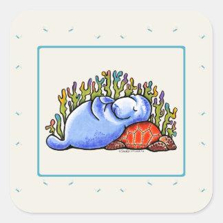 Manatee Sea Turtle Fishes Slumber Party Square Sticker