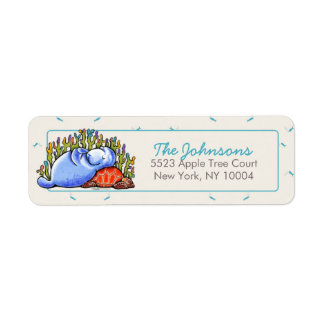 Manatee Sea Turtle Fishes Under the Sea Label