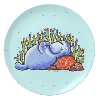 Manatee Sea Turtle Slumber Party Dinner Plate