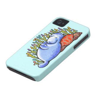 Manatee Sea Turtle Slumber Party iPhone 4 Case-Mate Case