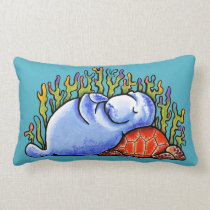 Manatee Sea Turtle Slumber Party Ocean Blue Lumbar Pillow