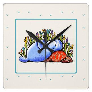 Manatee Sea Turtle Slumber Party Square Wall Clock