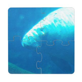 Manatee subacuático posavasos de puzzle