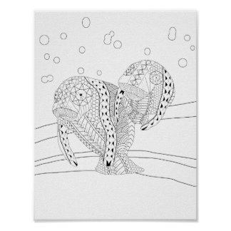 Manatees Adult Coloring Poster