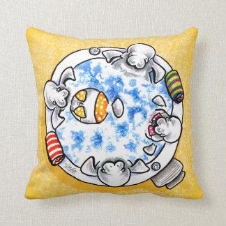 Manatees Hot Tub Fun Off-Leash Art™ Throw Pillow