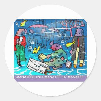 Manatees Inhumanatee Funny Tees Mugs Cards Etc Classic Round Sticker