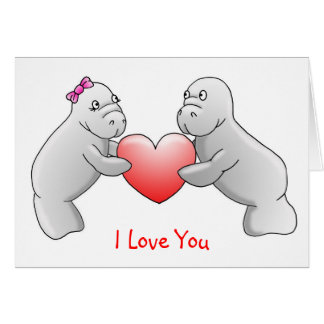 Manatees te amo tarjeta de felicitación