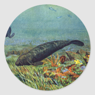 Manatees y pescados coloridos etiqueta