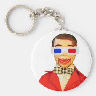 Manboy 3D Glasses Basic Round Button Keychain