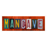 MANCAVE License Plate Art Word Phrase Poster