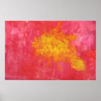 Mancha amarilla abstracta roja de los pescados póster