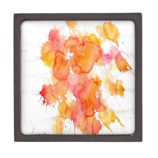 Mancha anaranjada de la pintura cajas de recuerdo de calidad