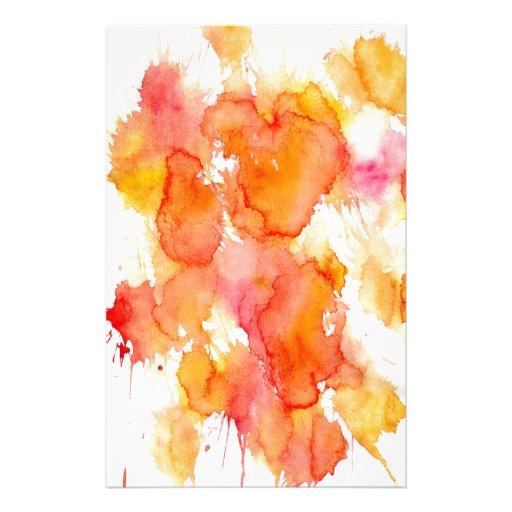 Mancha anaranjada de la pintura papeleria de diseño