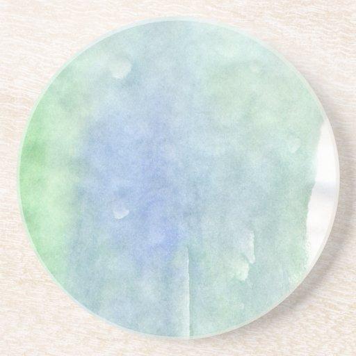 Mancha azul y verde de la acuarela posavasos manualidades