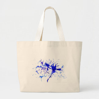 Mancha blanca /negra de la tinta azul bolsa tela grande