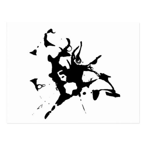 Mancha blanca /negra de la tinta tarjetas postales