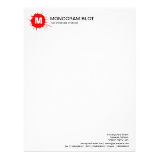 Mancha blanca /negra del monograma - rojo membrete a diseño