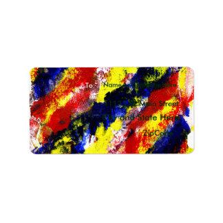 Mancha brillante azul amarilla roja del extracto d etiquetas de dirección