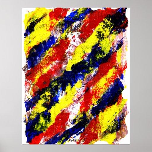 Mancha brillante azul amarilla roja del extracto d póster