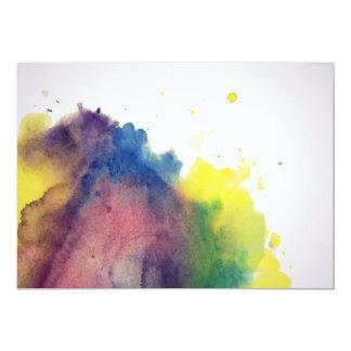 Mancha colorida de la acuarela invitación 12,7 x 17,8 cm
