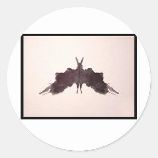 Mancha de tinta 5 0 de Rorschach Etiquetas Redondas