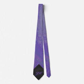Mancha del arándano y monograma negro corbatas