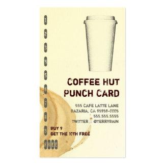 Mancha del café e ir tarjeta de sacador de la tarjetas de visita