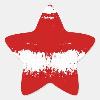 Mancha del lápiz labial en tejido pegatina en forma de estrella
