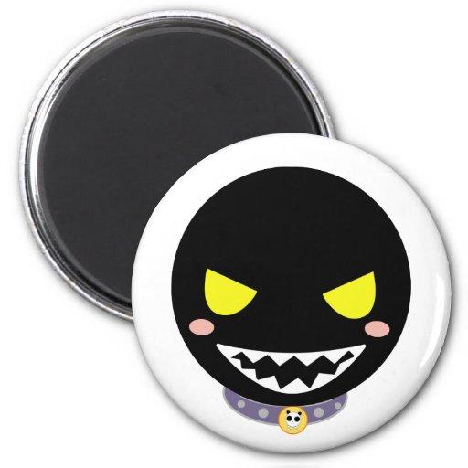 Mancha la cabeza negra del fantasma imán redondo 5 cm