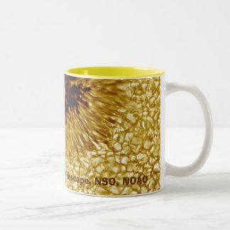 Mancha solar taza de café de dos colores