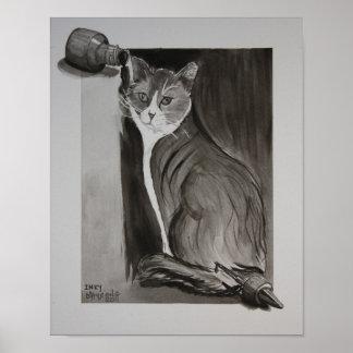 Manchado de tinta el gato poster