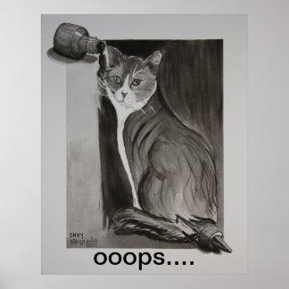 Manchado de tinta el gato impresiones