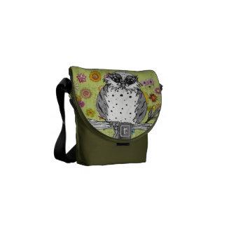 Manchado la bolsa de mensajero del búho 5 bolsas de mensajeria