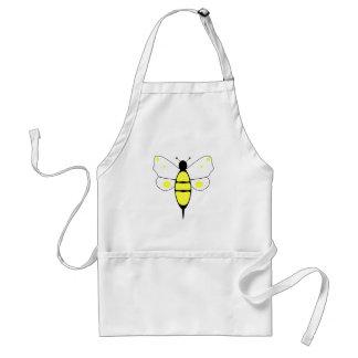Manchado manosee el delantal de la abeja