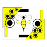 Manchado manosee la postal de la abeja