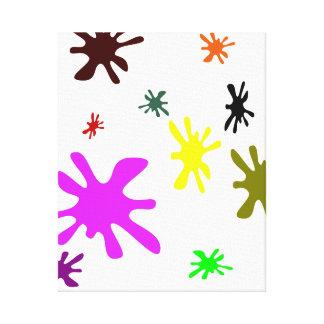 Manchas blancas /negras coloridas de la tinta lona estirada galerías
