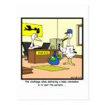 Manche a los padres: Dibujo animado de la cigüeña  Tarjeta Postal