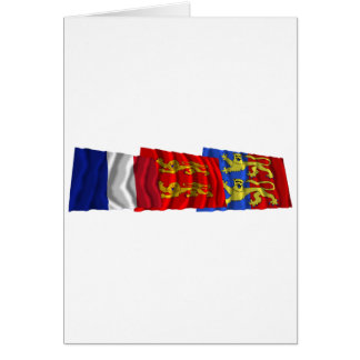 Manche, Basse-Normandie & France flags Card