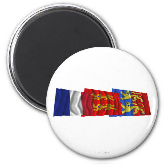 Manche, Basse-Normandie & France flags Magnet