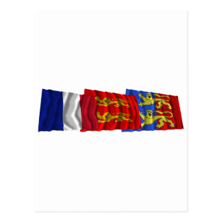 Manche, Basse-Normandie & France flags Postcard