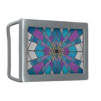 Manche el azul de cristal y la púrpura del rayo hebilla cinturón rectangular
