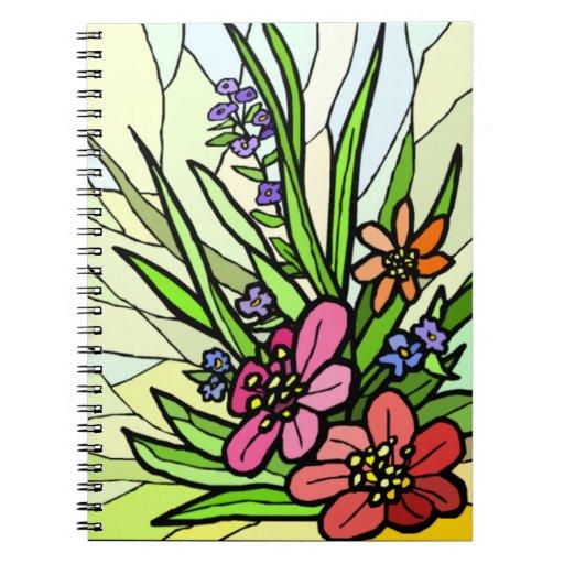 Manche el cuaderno espiral del jardín de flores de