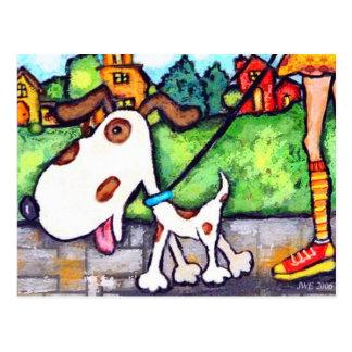 Manche el paseo del perro tarjeta postal