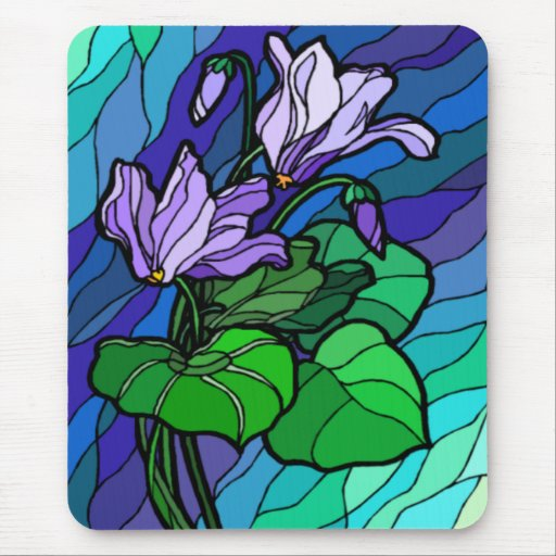 Manche la flor púrpura de cristal Mousepad
