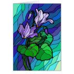 Manche la tarjeta púrpura de cristal de la flor