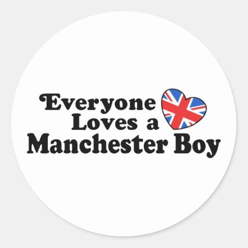 Manchester Boy Round Stickers